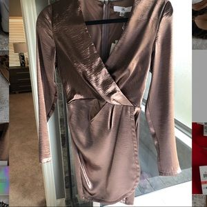 Misguided Bronze Long sleeved Dress Size 4 NWT